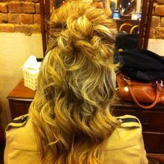 Half up curly updo