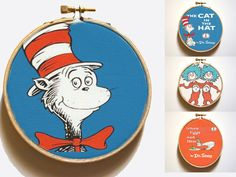Fun Dr Seuss characters Inked on Painters Drop Cloth. Wall art in wood embroidery hoop. Perfect for Children's decor via Etsy.