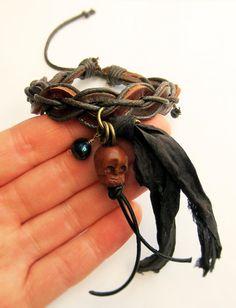 Jack Sparrow Bracelet Skull Leather Multi by RunLikeClockWork