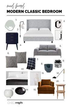 Modern Classic Bedroom, Modern Classic Interior, Grey Interior Design, White Bedroom Furniture, Bedroom Decor, Gray Bedroom, Bedroom Ideas, Home Design, Men's Bedroom Design