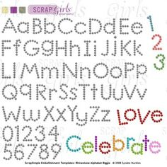 Free Rhinestone Template Downloads | ScrapSimple Embellishment Templates: Rhinestone Alpha Biggie