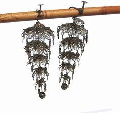 Silver Filigree Chandelier Dangle Earrings 5 Tiers by UncommonEye