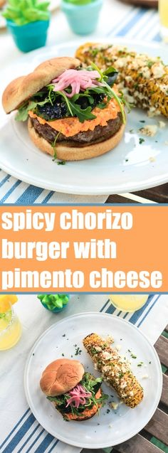 Spicy Chorizo Burger with Pimento Cheese | TheNoshery.com - @TheNoshery