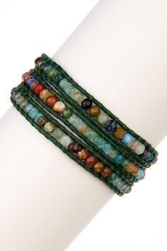 Aqua Fire Agate Leather Wrap Bracelet by Chan Luu on @HauteLook