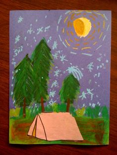 Starry Night-Inspired Camping Landscape