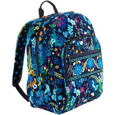 Vera Bradley Campus Backpack in Midnight Blues ($76) ❤ liked on Polyvore featuring bags, backpacks, vera bradley, mochila, purses, sale, padded bag, zip bag, pocket bag and day pack backpack