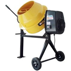 Pro-Series 4 Cu Ft Electric Cement Mixer, Yellow