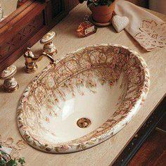 So pretty! Victorian Bathroom, Victorian Decor, Victorian Homes, Victorian Kitchen, Casa Kardashian, Drop In Bathroom Sinks, Washroom, Small Bathroom, Master Bathroom