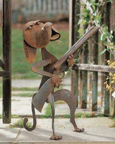 Guard Dog Sculpture - need this by my front door . Metal Art Projects, Welding Projects, Metal Crafts, Metal Art Sculpture, Dog Sculpture, Sculpture Ideas, Art Sculptures, Metal Yard Art, Scrap Metal Art