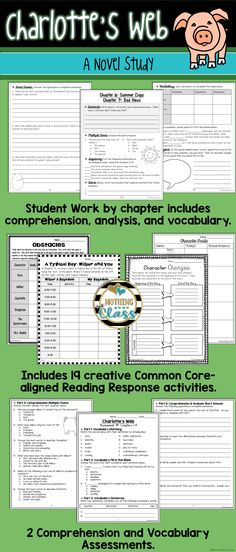 This novel study for Charlotte's Web, by E.B. White, contains 133 pages of resources, including comprehension, vocabulary, Common Core-aligned reading response activities, assessments, and more. Focus standards include figurative language, setting, character analysis, theme, and plot.