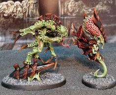 PAINTED 40K: Hive Fleet Nidrot - Spawn of Cryptus and Zoanthrope - Painted by Monkeychuka