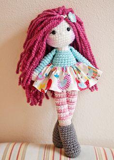 15 Raspberry hair crochet doll Ready to ship by LinaMarieDolls