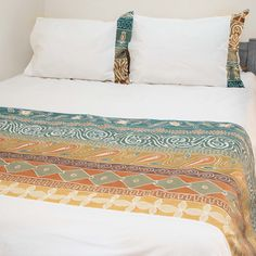 Duvet Covers ~ Artisans' Gallery Designs Double $240.00 USD Duvet cover and pillowcases in 100% cotton material, inlaid with beautiful hand-painted fabric strip in Tribal Textiles' flagship Artisan's Gallery design, featuring a stunning earthy green and brown colourway. #TribalArtisansGallery #TribalTextiles