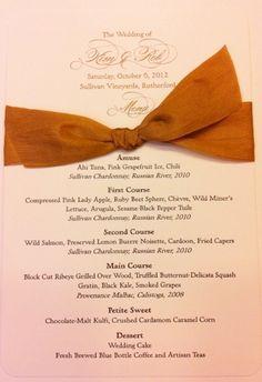 Wedding Menu Card for Napa Themed Wedding with bow