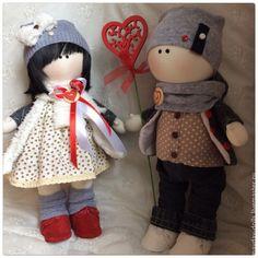 Купить Интерьерные текстильные куклы большеножки Влюбленные - разноцветный, тильда, интерьерная кукла, текстильная кукла ♡