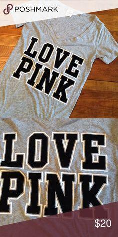 PINK Deep V T-Shirt PINK Deep V T-Shirt with velvet LOVE PINK logo. PINK Victoria's Secret Tops Tees - Short Sleeve