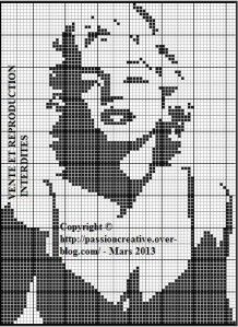 Free cross stitch pattern - Marilyn Monroe