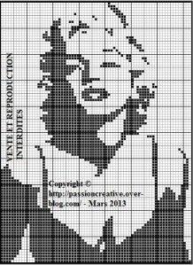Free cross stitch pattern - Marilyn Monroe