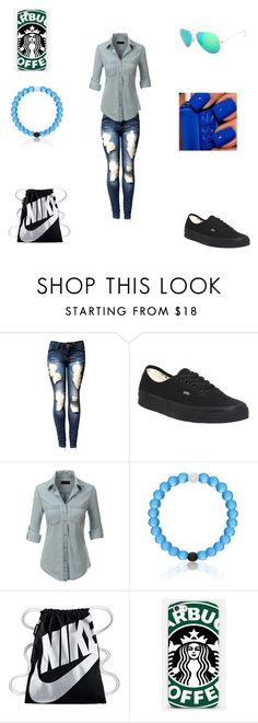 """""""casual day out with friends"""" by kylagregg on Polyvore featuring Vans, LE3NO, NIKE, Samsung and Ray-Ban"""