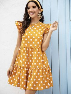 To find out about the Polka Dot Sleeveless Babydoll Dress Without Headband at SHEIN, part of our latest Dresses ready to shop online today! Modest Dresses, Simple Dresses, Cute Dresses, Beautiful Dresses, Casual Dresses, Fashion Dresses, Girls Dresses, Summer Dresses, Simple Kurta Designs