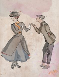 Mary Poppins and Bert by MattesWorks.deviantart.com on @DeviantArt-not a cartoon but I didnt have anywhere else to put it