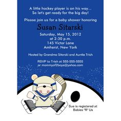 A cool winter idea for the sports minded family is to have a hockey baby shower.