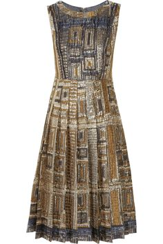 """This Rochas """"exquisitely patterned brown, navy and silver brocade dress"""" is a work of art!"""