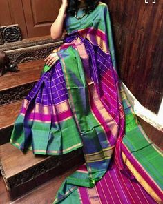 Uppada pure pattu zari silk saree with check blue body and pink pallu and Unstitched pink blouse attached to the sarees