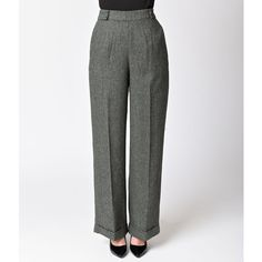 Banned 1940s Style Grey Herringbone Lady Luck Wide Leg Pants ($72) ❤ liked on Polyvore featuring metallic
