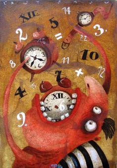 F. Liptak Various Artists, Color Mixing, Paint Colors, Clock, Illustrations, Create, Canvas, Painting, Home Decor