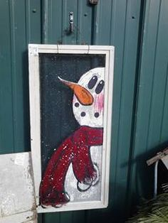 Recycle, Reclaim, Reuse, Repurpose-Old Window Screen w/painted Snowman