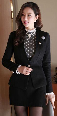 StyleOnme_Pearl Button Wrap Style Skort #black #winter #koreanfashion #elegant #feminine #skirt #paints #formal #girlish #seoul #kstyle #dailylook