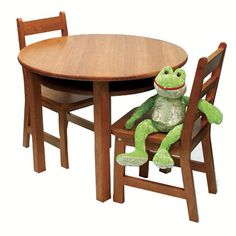 """Lipper Round Table with Shelf & 2 Chairs - Pecan - Lipper International - Toys """"R"""" Us"""