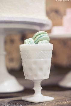Macarons in a sweet cup / The Sweet Side / Alante Photography / Seattle Wedding Cakes / via StyleUnveiled.com