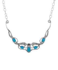 Look what I found on #zulily! Sleeping Beauty Turquoise & Sterling Silver Flower Necklace #zulilyfinds