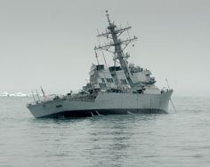USS Mitscher anchored at sea.