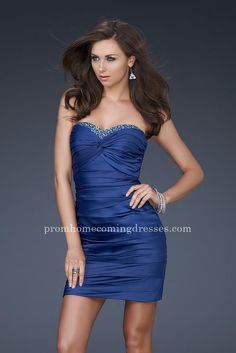 Junior Royal Blue Strapless Short Gathered Homecoming Dresses by La Femme 16934