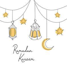 Ramadan Kareem Banner Design Continuous Line Drawing Of Lantern Moon And Star Tarjetas Ramadan, Ramadan Cards, Mubarak Ramadan, Eid Cards, Eid Mubarak Greetings, Ramadan Kareem Pictures, Ramadan Images, Ramadan Kareem Vector, Islamic Art
