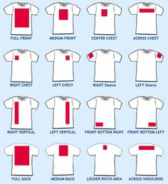 T shirt art locations chart