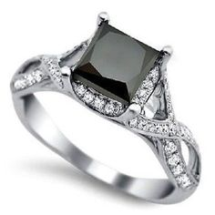Princess Cut Solitaire Black Diamond Wedding Ring 1 21 Ct with Free Certificate | eBay