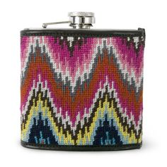 This is by Jonathan Adler (Multi Needlepoint Flask at 98 bucks), but i wonder if I could knit or needlepoint something similar? Oh if only I had the time.....!