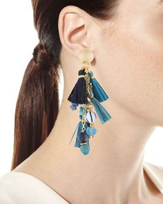 Shop Blue Mixed-Media Cluster Raffia Tassel Drop Earrings from Akola at Neiman Marcus Last Call, where you'll save as much as on designer fashions. 90s Jewelry, Mommy Jewelry, Tassel Jewelry, I Love Jewelry, Jewelery, Jewelry Design, Beaded Bracelets, Jewelry Ideas, Tassel Drop Earrings