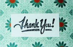 Thank you stamp, thank you hand carved stamp, thank you rubber stamp, handmade stamp, card making supplies