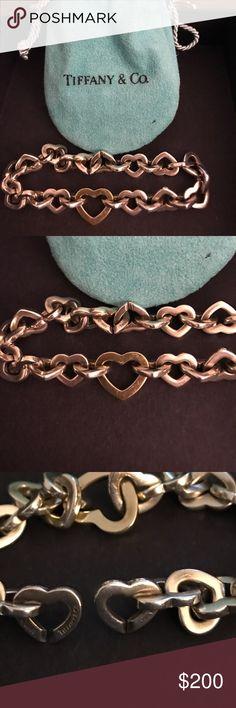 "Tiffany and Co. heart link bracelet Tiffany and Co. G Sterling silver and 18k 750 gold heart link bracelet.  7.5""Lx32""Hx0.55""W Tiffany & Co. Jewelry Bracelets"