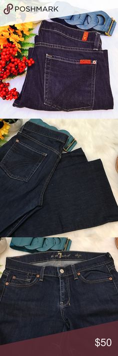 7FAM dojo cropped These are super cute in like new condition and a deep blue color and cropped style.  16in waist, 8in rise and 24in inseam😍 7 For All Mankind Jeans Ankle & Cropped