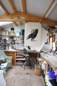 (Sue Brown Printmaker: THUS SPOKE THE RAVEN.) 'I love the artist's studio. It's like stepping into the mind of the artist. It may look cluttered to some, but in the mind of its owner, every thing is exactly where it should be. And, it just feels like home.'-lisacollins
