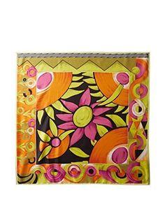 Versace Women's Groovy Flower Silk Scarf, Pink/Orange/Green/Black