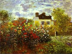 The Artist's Garden in Argenteuil. By Claude Monet, Oil on canvas. Monet was a founder of the impressionist art movement. Monet's landscape paintings, including The Artist's Garden in Argenteuil, are well known for showing the effect of light on the Monet Paintings, Impressionist Paintings, Landscape Paintings, Landscapes, Landscape Art, Claude Monet, Pierre Auguste Renoir, Garden Painting, Garden Art