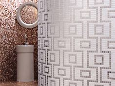 Designed by Carlo Dal Bianco, the Labirinto design is made up of 3/4″ x 3/4″ glossy and opaque tiles that form a fun geometric pattern in three color variations. Check out the rest of the amazing tile mosaics from Bisazza.