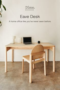 "We're turning the tables on the desk. Work time or meal time, Eave is a dual-purpose ""table-desk"" — making it the consummate multitasker. Home Renovation, Home Office, Wood Source, Diy Desk, Table Desk, Desk Chair, New Room, Furniture Making, Furniture Design"